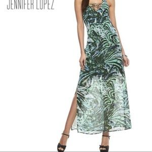J LO halter maxi dress side slit animal print aqua